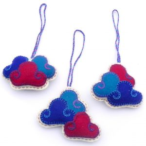 Three clouds sets key chain ornament blue with red