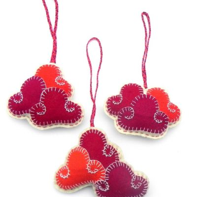Three clouds sets key chain ornament orange with red