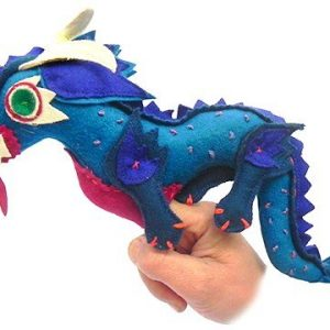 Dragon finger puppet blue
