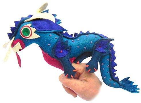 Dragon finger puppet blue