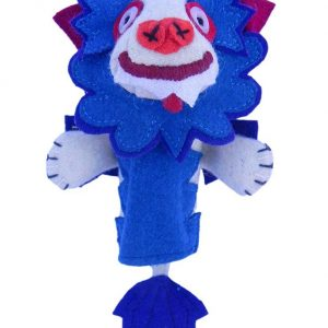 Snow lion finger puppet blue