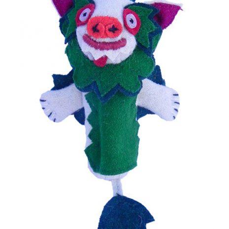Snow lion finger puppet green