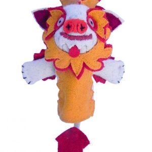 Snow lion finger puppet orange
