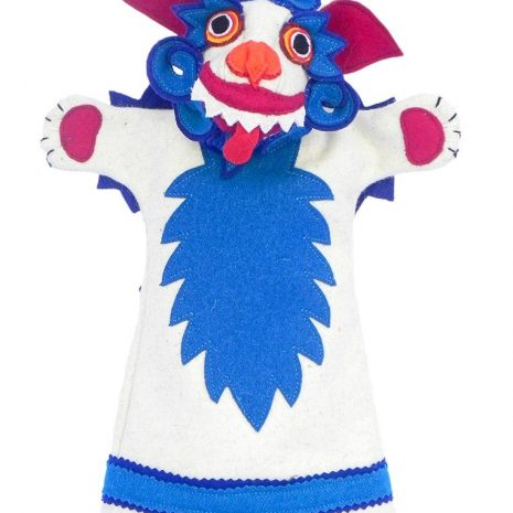 Snow lion hand puppet blue