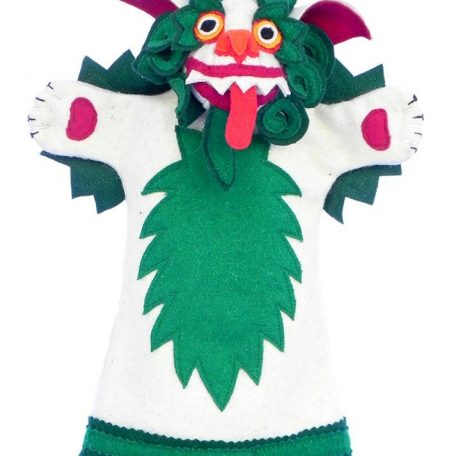 Snow lion hand puppet green