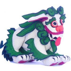 Snow lion stuffed toy small green