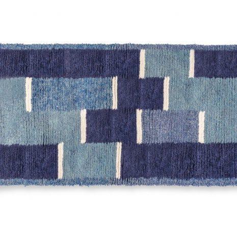 Blue base sheep wool hand made carpet