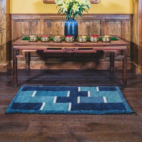 Blue base sheep wool hand made carpet interior
