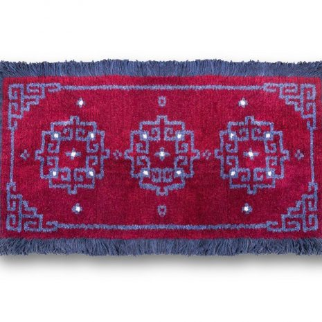 Blue ground with coin design sheep wool carpet