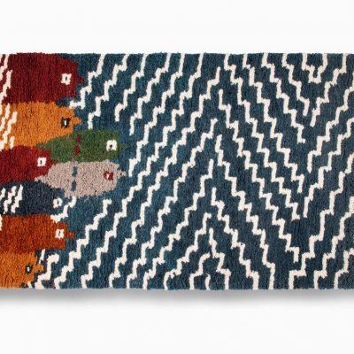 Fish design sheep wool hand made carpet
