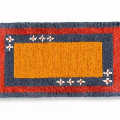 Orange ground sheep wool hand made carpet with blue and red line