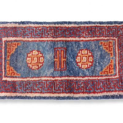 Red ground mandala design sheep wool carpet